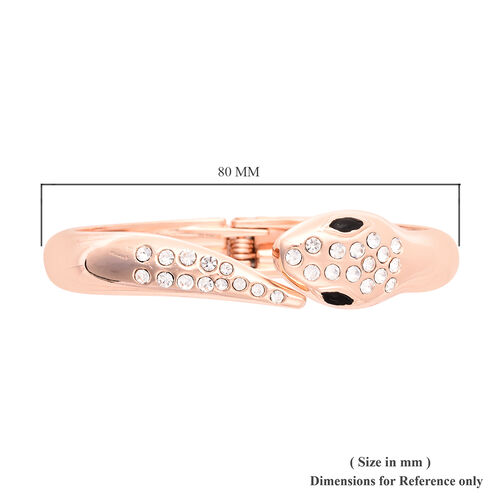 White Austrian Crystal Snake Head Enamelled Bangle (Size 7) in Rose Gold Tone