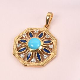 Arizona Sleeping Beauty Turquoise and Natural Cambodian Zircon Enamelled Pendant in 14K Gold Overlay Sterling Silver 1.000 Ct.
