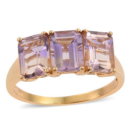 Limited Edition - Anahi Ametrine (Oct) Trilogy Ring in 14K Gold Overlay Sterling Silver 4.500 Ct.