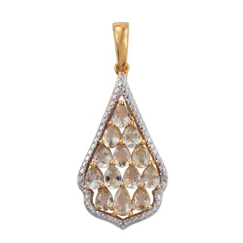Natural Turkizite (Pear), Diamond Pendant in 14K Gold Overlay Sterling Silver 2.000 Ct.