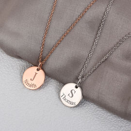 Personalise Initial and Date Engraved 15MM Disc Pendant with Chain in Silver