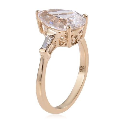 Super Auction - J Francis 9K Yellow Gold (Pear 12x8 mm) Ring Made with SWAROVSKI ZIRCONIA