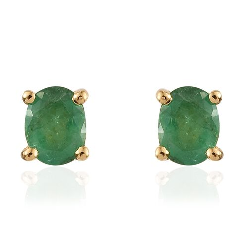 Kagem Zambian Emerald 0.50 Ct Silver Solitaire Stud Earrings in Gold Overlay (with Push Back)