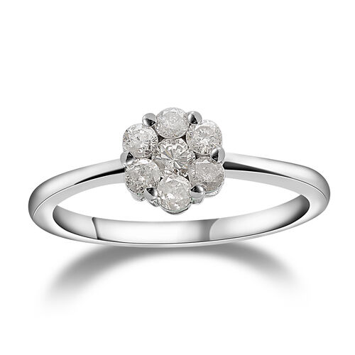 9K White Gold SGL Certified (I3/G-H) Diamond (Rnd) Floral Ring 0.500 Ct.
