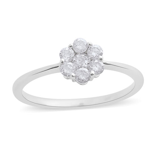 ILIANA 18K White Gold IGI Certified Diamond (Rnd) (SI/G-H) Floral Ring 0.500 Ct.