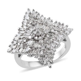 Diamond (Rnd and Bgt) Cluster Ring in Platinum Overlay Sterling Silver 1.00 Ct., Silver wt 5.38 Gms,
