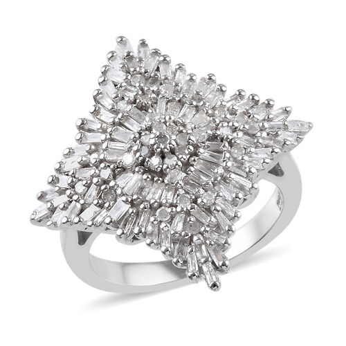 1 Carat Diamond Cluster Ring in Platinum Plated Sterling Silver 5.38 Grams