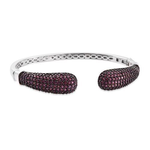 Designer Inspired - Rhodolite Garnet (Rnd) Bangle (Size 7.5) in Black Rhodium and Platinum Overlay S