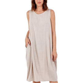 Nova of London Round Neck Two Pocket 50% Cotton & 50% Linen Dress (Upto Size 18) - Stone