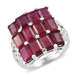 African Ruby (Oct) Ring in Platinum Overlay Sterling Silver 9.50  Ct.