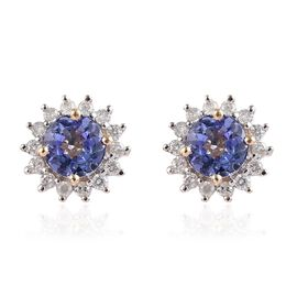 9K Yellow Gold AA Tanzanite (Rnd), Diamond Stud Earrings (with Push Back) 1.25 Ct.