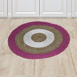 Bali Collection - 100% Handmade Woven Seagrass Rug (Size:100x1x100Cm) - White and Pink