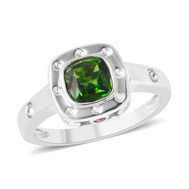 RACHEL GALLEY Majestic Collection Russian Diopside (Cush), Burmese Ruby Ring in Rhodium Overlay Ster