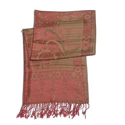 SILK MARK - 100% Superfine Silk Red and Multi Colour Floral and Leaves Pattern Green Colour Jacquard Jamawar Shawl with Fringes (Size 180x70 Cm) (Weight 125-140 Grams)