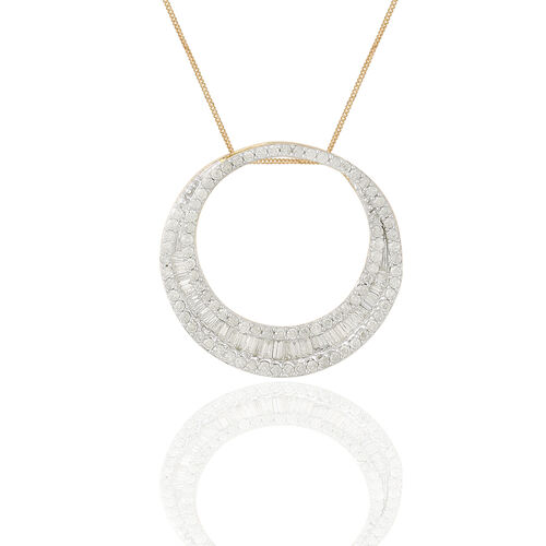Limited Edition- 9K Yellow Gold SGL Certified Diamond (Bgt) (I3/G-H) Crescent Moon Pendant With Chain 1.000 Ct.