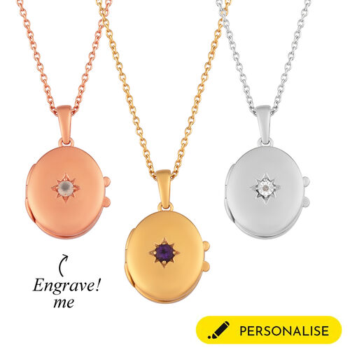 Personalised Engraved Name and Birthstone Locket with Chain in Silver