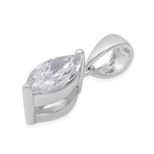 ELANZA Swiss Star Simulated Diamond Solitaire Pendant in Rhodium Overlay Sterling Silver