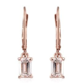 Marropino Morganite (Oct) Lever Back Earrings in Rose Gold Overlay Sterling Silver 1.000 Ct.
