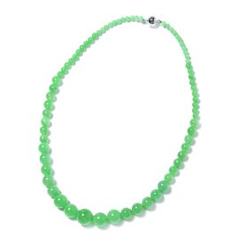 Green Jade (Rnd 4-15 mm) Graduated Necklace (Size 20) in Rhodium Overlay Sterling Silver  with Magne