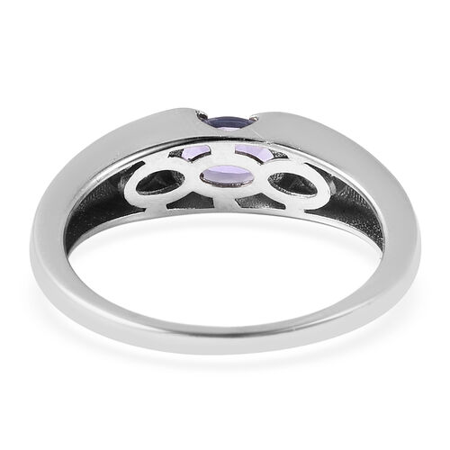 Tanzanite and Natural Cambodian Zircon Channel Set Ring in Rhodium Overlay Sterling Silver 1.000 Ct.