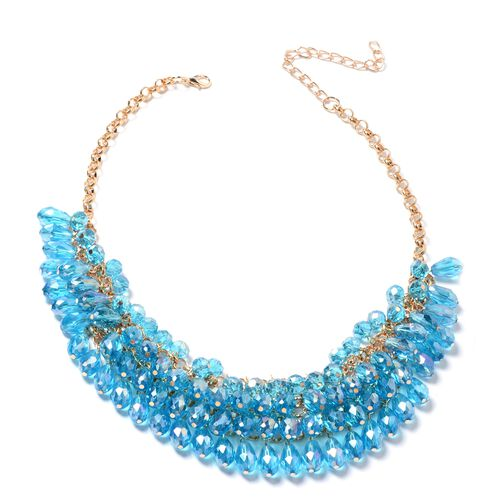 2 Piece Set - Multi Colour Murano Style Glass Beads Necklace (Size 20) and Earrings in Gold Plated