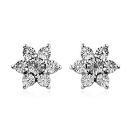 Diamond (Rnd) Stud Flower Earrings (with Push Back) in Platinum Overlay Sterling Silver