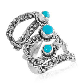Royal Bali 1.26 Ct African Ruby and Sleeping Beauty Turquoise 3 Stone Ring in Silver 10.3 Gms
