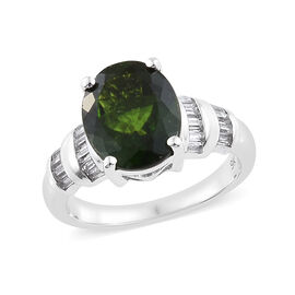 9K W Gold AAA Russian Diopside (Ovl 11x9mm, 3.45 Ct) and Natural Cambodian Zircon Ring (Size V) 4.000 Ct.