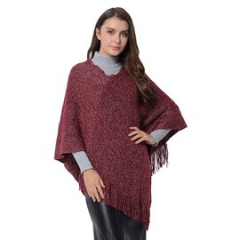 Close Out-Wine Red Colour Poncho with Tassels (Size 80x65 Cm)