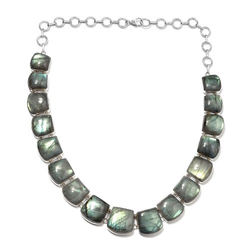326.88 Ct Labradorite Statement Necklace Silver 34 Grams 20 Inch