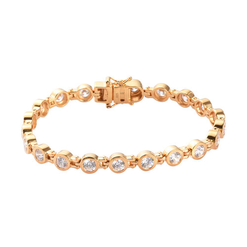 J Francis - 14K Gold Overlay Sterling Silver Bracelet (Size 7.5) Made with SWAROVSKI ZIRCONIA 13.00