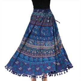 100% Cotton Mandala Print Boho Long Skirt with Tassels (Size 101.5x94cm) - Navy Blue and Light Blue