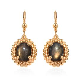 8 Carat Bokonaky Fire Labradorite Solitaire Drop Earrings in Gold Plated Sterling Silver 7 Grams