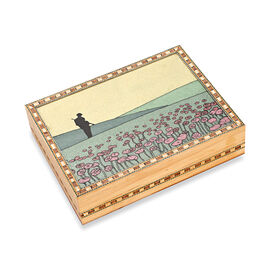 Wooden Jewellery Box with Hand-painted Gemstone Landscape (Size 20.3x15.2x5.5 Cm) - Multicolour