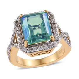 6 Ct Peacock Quartz and Zircon Halo Ring in Gold Plated Sterling Silver 5.20 Grams