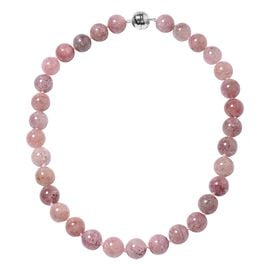 Very Rare Brazilian Pink Lepidocrocite Natural Quartz (Rnd) Beads Necklace (Size 20) in Rhodium Overlay Sterling Silver 613.500 Ct.