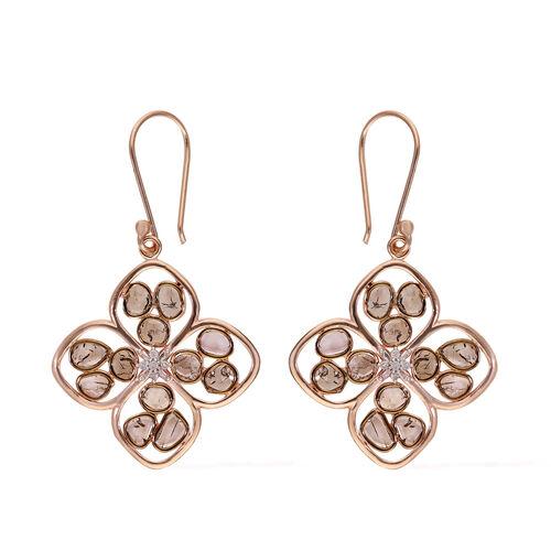 Polki Diamond, Champagne Diamond Earring in Platinum Overlay Sterling Silver 2.00 ct,  Sliver Wt. 6