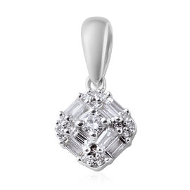 ILIANA 18K White Gold IGI Certified Diamond (Rnd and Bgt) (SI/G-H) Pendant 0.331 Ct.
