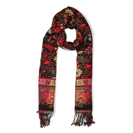 Seamless Floral Pattern Scarf (Size 70x200 mm) with Tassels - Black