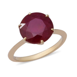 Super Auction - 9K Yellow Gold AAA African Ruby (Rnd 12 mm) Solitaire Ring 8.00 Ct.