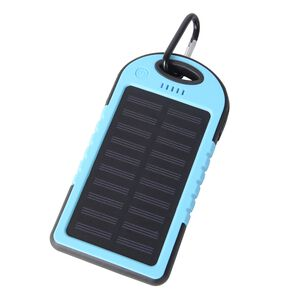 DOD- 4000mAh Power Bank (Size 15x7.5 Cm) with Solar Panel, 2 USB Ports, LED Flashlight, Buckle and USB Cable (Size 30 Cm) - Light Blue and Black Colour (Navigation Fashion & Home Accessories) photo