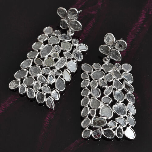 Artisan Crafted Polki Diamond Earrings (with Push Back) in Platinum Overlay Sterling Silver 6.00 Ct