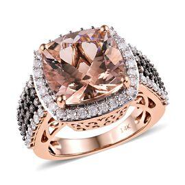 14K Rose Gold Maroppino Morganite (Cush), Diamond Ring 7.150 Ct, Gold wt 7.92 Gms.