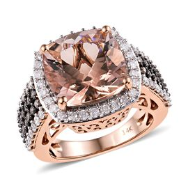 Extremely Rare Size 14K Rose Gold  Marropino Morganite (Cush 12x12 mm), Champagne and White Diamond