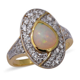 New Arrival - Ethiopian Welo Opal and Natural Cambodian Zircon Ring in Two Tone Overlay Sterling Sil