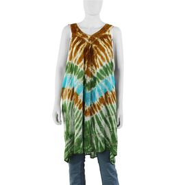 Tie-Dye Embroidered V Neck Summer Dress (One Size; L=90 Cm) - Olive Brown and Olive Green