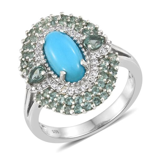 Arizona Sleeping Beauty Turquoise (Ovl 1.90 Ct), Ocean Blue Apatite and Natural Cambodian Zircon Cluster Ring in Platinum Overlay Sterling Silver 3.500 Ct. Silver wt 5.80 Gms.