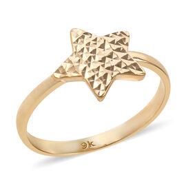Royal Bali Collection 9K Yellow Gold Diamond Cut Star Ring Gold Wt 1.83 Grams