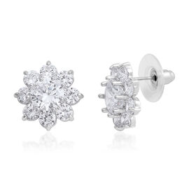 AAA Simulated Diamond (Rnd 8mm) Stud Earrings (with Push Back) in Silver Plated