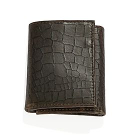 100% Genuine Leather Croc Embossed RFID Protected Trifold Unisex Wallet (Size 23x10 Cm) - Brown